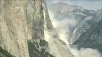 Footage of a further rockfall at Yosemite