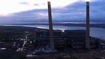 Drone captures chimney demolition