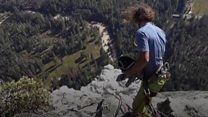 Climber films Yosemite rock fall