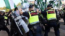 Swedish Nazi rally presses police lines