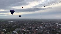 City view captured from hot air balloon