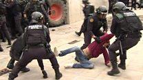 Defence secretary 'deplores' Catalonia violence