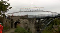 Scaffolding up at historic Iron Bridge
