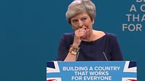 Theresa May coughs through speech