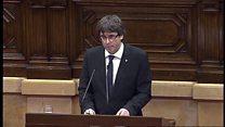 Catalan leader suspends independence declaration
