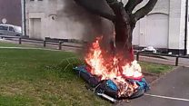 Moment man sets fire to homeless man's tent