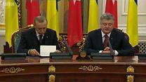 Perezida wa Turikiya yatwawe n'ibitotsi muri Ukraine.