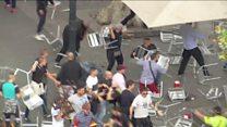 كراسي تتطاير واشتباكات في برشلونة