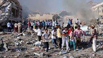 Devastation at Somali truck blast site