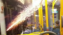 Youths set off fireworks in bus and shops