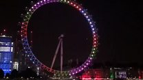 The London Eye is lit up on the eve of Diwali