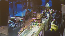 Masked men beat coffee shop staff with bats