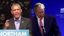 """Aux Etats-Unis, Obama et Bush unanimes contre les """"politiques qui divisent"""""""