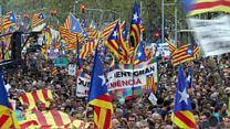 Protesters rally in Barcelona