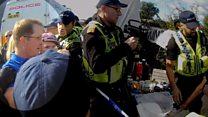 Protester manhandled at fracking demo