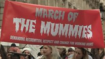 Halloween mummies march for maternity rights