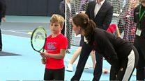 Kate helps coach children's tennis lesson