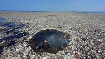 """Así se ve el """"mar de basura"""" que causa problemas entre Honduras y Guatemala"""