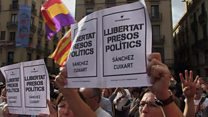 Barcelona protests for jailed Catalan leaders