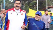 Maradona and Maduro in kickabout