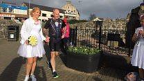 The couple, their wedding and their marathon