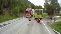 Dashcam captures truck's near miss with child