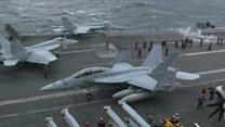 कोरियाई प्रायद्वीप अमरीकी नौसेना का सैन्य अभ्यास