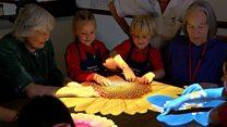 Children join dementia patients in game