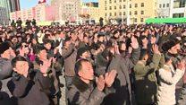 North Koreans applaud missile test