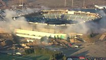 Moment US stadium demolition fails