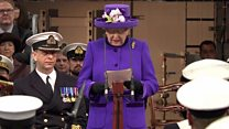 Queen speaks at warship commissioning ceremony