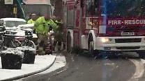 Fire engine gets stuck