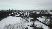 Snowy Coventry skyline