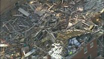 Aerial footage shows blast wreckage