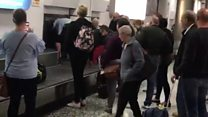 Carousel chaos after airport bags delay