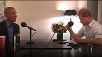 مزاح بين الأمير هاري وباراك اوباما قبل مقابلة مع الرئيس السابق