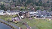 Drone footage of fire-damaged hotel