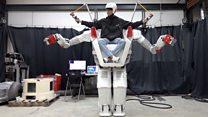 Giant robot is ridden by human pilot