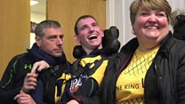 Disabled rugby fan uses half-time video to tell stadium he 'has a voice'