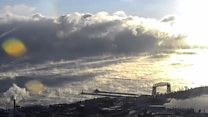 Time-lapse shows sea smoke phenomenon