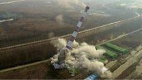 بالفيديو: تفجير برج للكهرباء في الصين