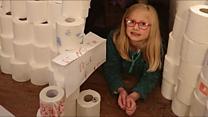 Girl gets toilet roll igloo for Christmas