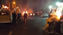 Fires in Tehran street protest