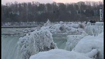 น้ำตกไนแอการาถูกปกคลุมด้วยน้ำแข็ง