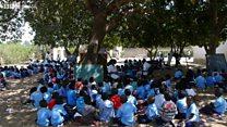 As 'salas-árvores': como centenas de crianças estudam em Moçambique