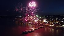 Drone flies with fireworks display