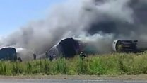 Trains on fire after South Africa crash