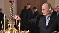 Путин отметил Рождество в храме в Петербурге