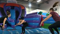 Giant bouncy castle is a jumping gym