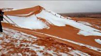 ثلوج تكسو صحراء الجزائر لأول مرة منذ 40 عاما